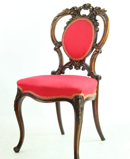Craved Walnut Victorian Balloon Back Chair