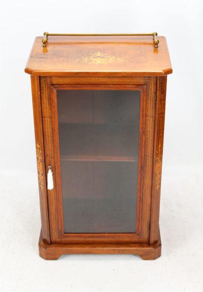 Victorian Walnut Inlaid Pier Cabinet Bookcase