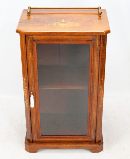 Victorian Walnut Inlaid Pier Cabinet Bookcase