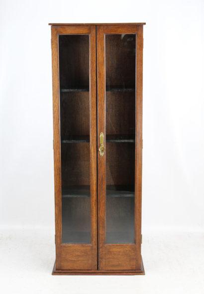 Tall Slim Edwardian Oak Bookcase