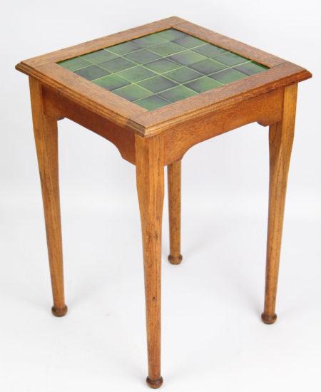 Arts Crafts Oak Tile Top Side Table