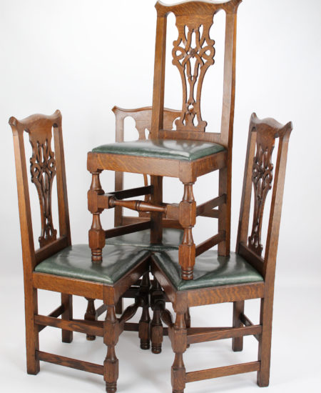 Set 4 Edwardian Oak Dining Chairs