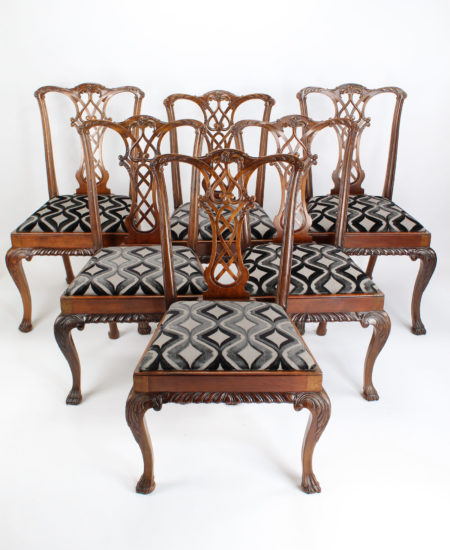 Set 6 Antique Edwardian Mahogany Chippendale Chairs