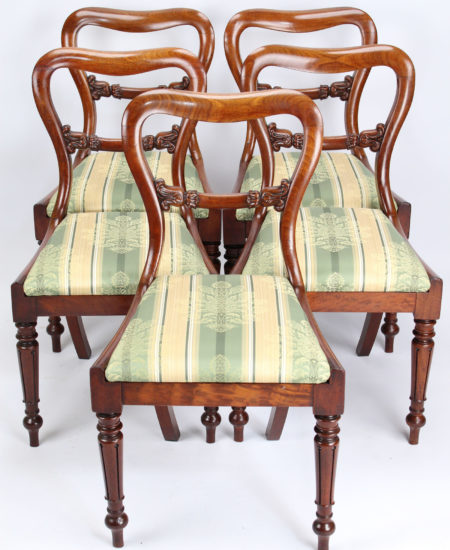 Set 5 Victorian Mahogany balloon Back Chairs