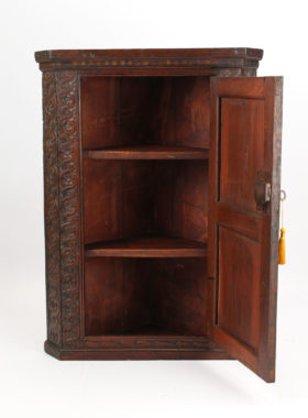 Small Antique Gothic Carved Elm Corner Cupboard