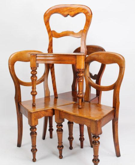 Harlequin Set 4 Victorian Kitchen Chairs
