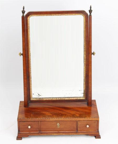 Small Georgian Mahogany Toilet Mirror