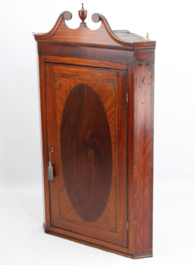 Georgian Inlaid Mahogany Corner Cupboard