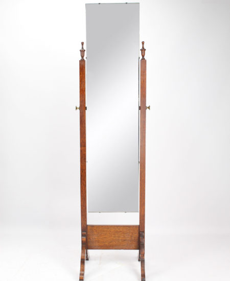 1920s Oak Cheval Mirror
