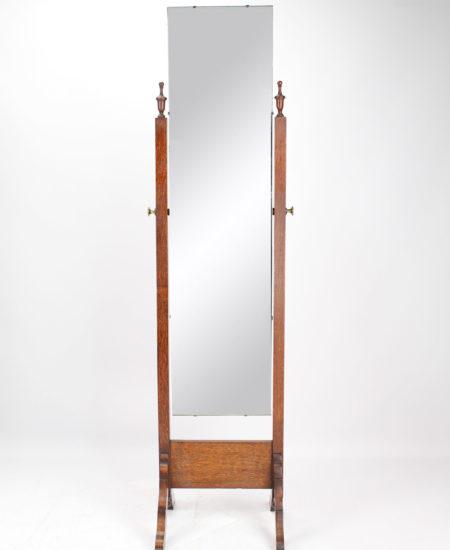 1920s Oak Cheval Mirror