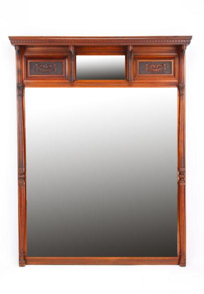 Large Victorian Walnut Overmantle Mirror
