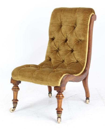 Small Victorian Walnut Slipper Chair