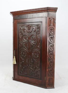 Victorian Gothic Revival Carved Oak Corner Cupboard