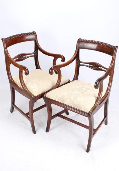 Pair Regency Mahogany Open Armchairs