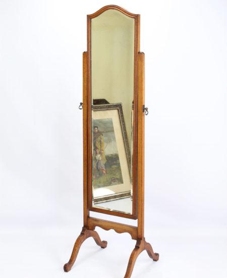 Antique Edwardian Oak Cheval Mirror