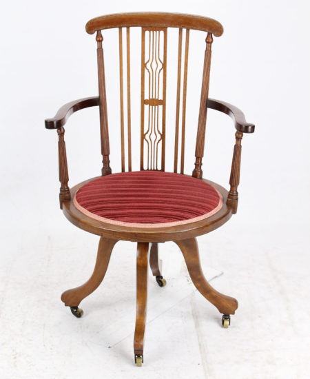 Edwardian Inlaid Mahogany Swivel Chair