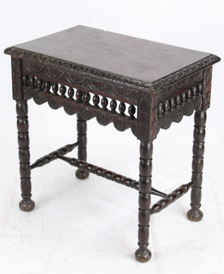 Small Victorian Gothic Revival Oak Table