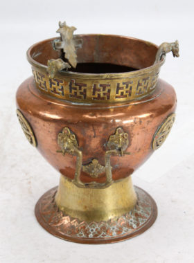Pair Chinese Copper and Brass Jardinieres