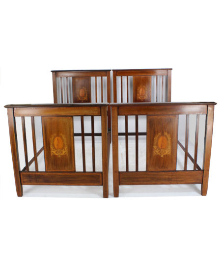 Pair Edwardian Mahogany Inlaid Single Beds