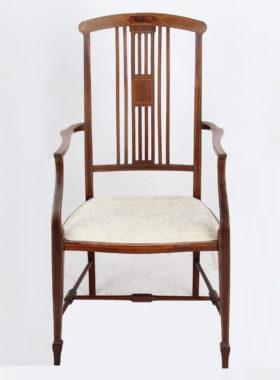 Edwardian Mahogany Inlaid Open Armchair