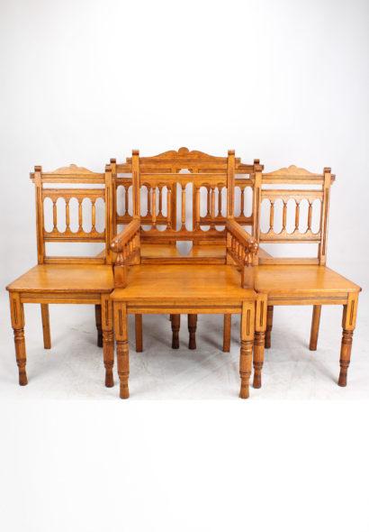 Set 5 Victorian Gothic Revival Oak Chairs