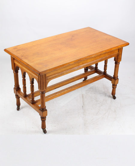 Victorian Gothic Revival Oak Dining Table
