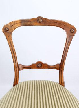 Set 4 Victorian Walnut Balloon Back Chairs