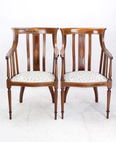 Pair Edwardian Inlaid Mahogany Tub Chairs