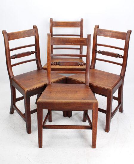Set 4 Victorian Mahogany Kitchen Chairs