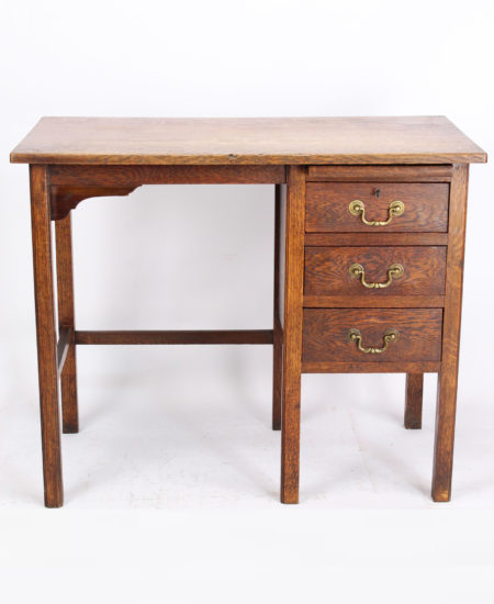 Small Edwardian Oak Single Pedestal Desk