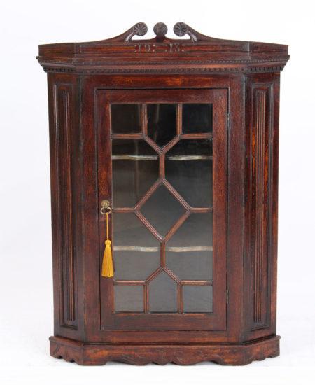Small Antique Oak Hanging Corner Cabinet